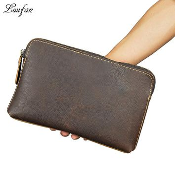 Men's genuine leather clutch wallet cow leather iPad mini handbag Vintage real leather zip around pouch Big long wallet