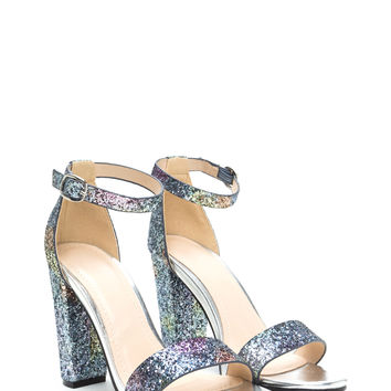 Bling Of Fire Chunky Glittery Heels