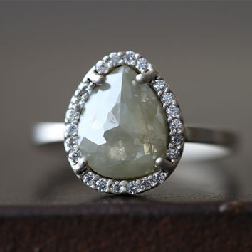 Natural Pale- Green Rose Cut Diamond Ring with Pave Halo