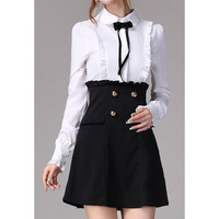 Black Vintage Ruffled Long Sleeves Mini Dress