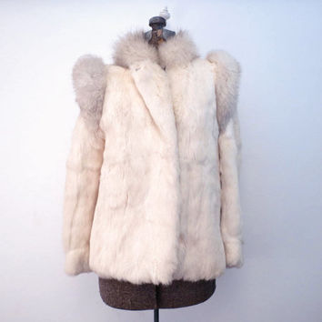 Vintage Rabbit Fur and Fox Fur Trim Jacket Coat by Bermans Size M made in Korea M L