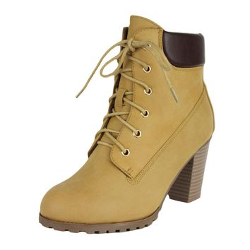 Womens Ankle Boots Rugged Lace Up High Heel Shoes Tan SZ