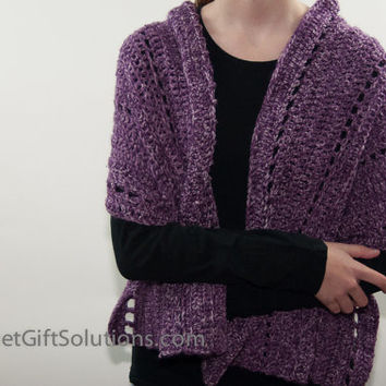 Purple Shawl, Purple Shoulder Wrap, Purple Crocheted Shoulder Wrap, Purple Crocheted Shawl