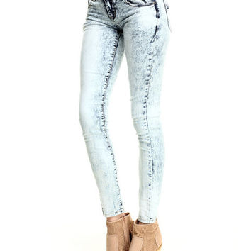 Bleached Out Acid Wash Skinny Jean by Basic Essentials