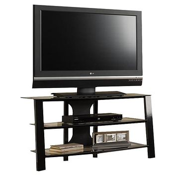 Contemporary 40-inch Black Metal TV Stand with Clear Glass Shelves