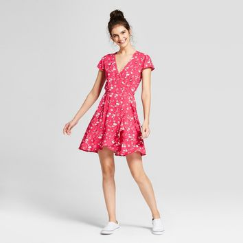 Women's Floral Print Wrap Dress - Mossimo Supply Co.™ Pink