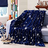 "YJ Bear Blue Starry Sky Dot Print Lightweight Flannel Velvet Fleece Blanket Super Soft Plush Throw Full Size Super Warm Fuzzy Microfiber Bedding Blanket for Sofa/Bed/Couch 71"" X 79"""