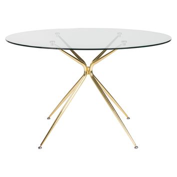 "Atos 48"" Round Dining Table with Clear Tempered Glass Top and Matte Brushed Gold Base"