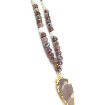 Arrowhead Necklace, Arrow Necklace, Jasper Arrowhead Pendant, Beaded Arrowhead, Howlite, Beaded Necklace, Birthday Gift, Boho, Gold Necklace