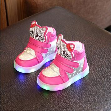 2017 boys girls casual shoes with flash LED toddler children's breathable running sport shoes cartoon KT Cat glowing sneakers