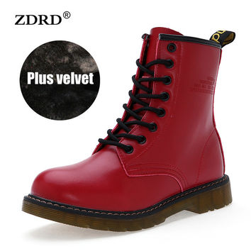 Women Boots Doc Martins 2016 British Dr Martins Vintage Classic Martin Boots Female Thick Heel Motorcycle Women's Shoes