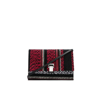 Proenza Schouler Small Mixed Woven Lunch Bag in Red & Black Mix | FWRD