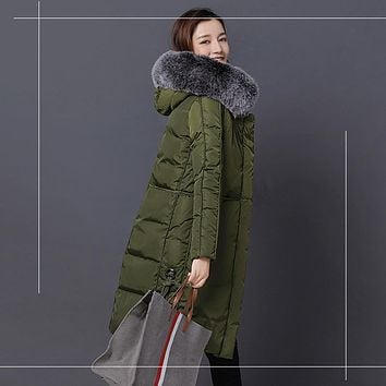 Wmwmnu 2017 fashion long warm women winter jacket Large Silver Fox Fur Collar Hooded Woman Parka Coats Thick Jacket 070