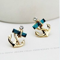 YOLANDA — Studded Anchor Earring Stud