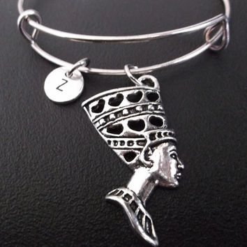 Nefertiti egyptian queen bracelet, Stainless Steel Expandable Bangle, monogram personalized item No.226