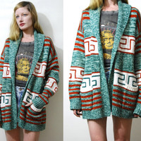 Tribal Cardigan 70s Vintage AZTEC Jacket Space Dye Knit Sweater Hippie Jacket Oversized Cardigan Striped Boho Bohemian 1970s vtg s m l