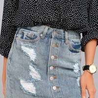 To The Rhythm Light Wash Distressed Denim Mini Skirt