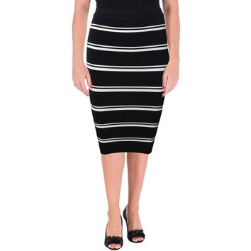 Olivaceous Womens Striped Pull On Bandage Skirt