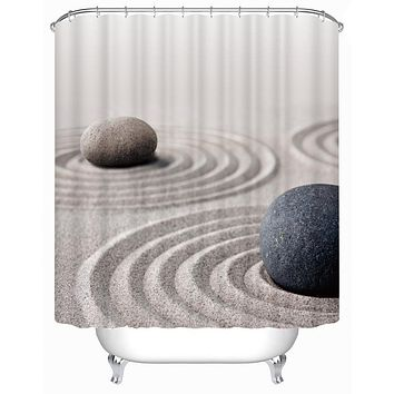 stone sand Bathroom Shower Curtains High Quality Water and Midlewproof with Hooks