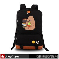 We Bare Bears Backpacks for Teenage Girls Denim Cute Grizzly Panda Ice Bear School Bag for Kids Boys Teenagers Computer Package