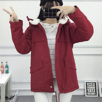 Hooded Lambs Wool Cotton-padded Coats and Jackets  Clothes Thickened Plus Size Parkas Korean Institute Style Overcoat