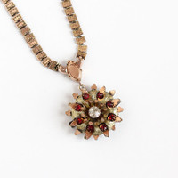 Antique Victorian Rose & Yellow Gold Filled Bookchain Necklace - Vintage 1880s Two Tone Flower Pendant Red and Clear Rhinestone Jewelry