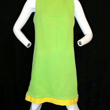 Vintage Mode O'Day Lime Green Yellow Accent Dress/GoGo Boot Dress/Vintage Late 1950' Fashion Dress/Vintage Early 1960s Dress