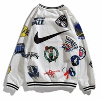 Nike X Supreme Fashion Women Men Comfortable Print Long Sleeve Round Collar Couple Sweater Top Sweatshirt White I13846-1