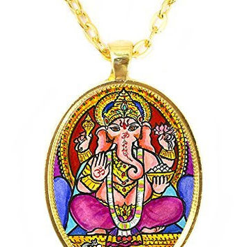 Ganesh God Intellect Wisdom Huge 30x40mm Talisman Bright Gold Pendant with Chain Necklace