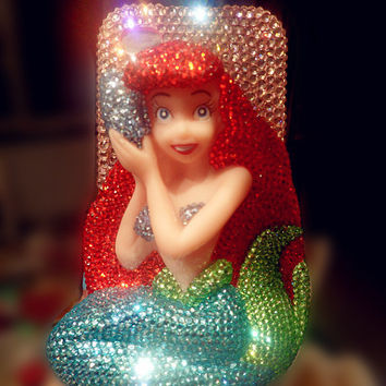 Swarovski Crystals Disney little mermaid iPhone case Cute 3D Bling Mermaid Ariel iPhone 5 case iPhone 4 case iPhone 4s Samsung galaxy s3
