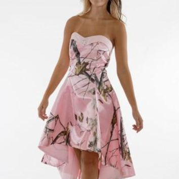 sweetheart realtree pink camo prom dress  2018 short  front long back high low  camouflage party dress custom make free shipping