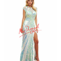 Cassandra Stone by Mac Duggal 4100A White & Aqua Sequin Cutout Back Dress 2015 Prom Dresses