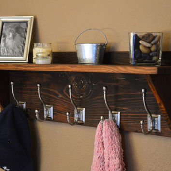 Rustic Reclaimed 100+ Year Old Wood Coat Hat Rack with Shelf