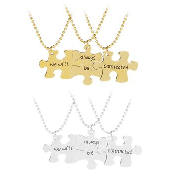 bff Necklace 3 Best Friends Forever pendant Necklace we will always be contected necklaces for 3 Stitching jewelry