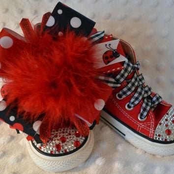 Red polka dot ladybug BLING PRINCESS Converse - baby/toddler/girl shoes