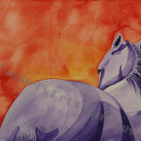 Horse Art, Print of Purple Horse Watercolor Painting, Limited Edition Giclee Print  8 x 10