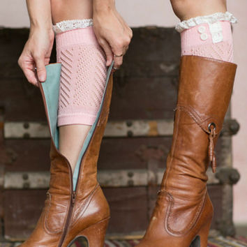 Cute Pink Boot Cuffs With Crochet Top
