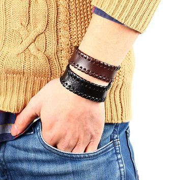 Vintage Mens Leather Strap with Button Bracelet - 2 Color Options