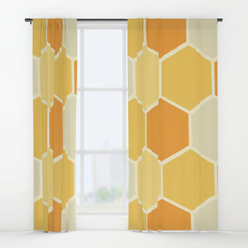 Yellow Honeycomb Window Curtains by spaceandlines