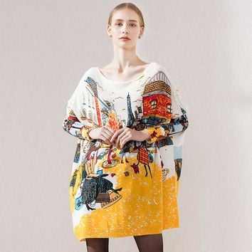 New 2016 Autumn Winter Casual Long Christmas Sweater Dress Batwing Sleeve Printed Coat Women's Sweater Clothes Pullover Clothing