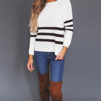 Ivory/Brown Striped Sweater