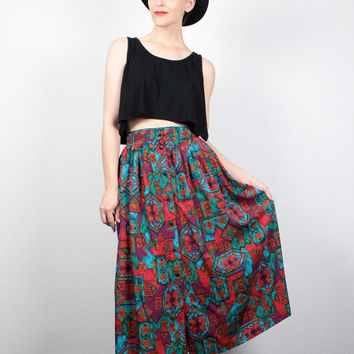 Vintage 80s Skirt Southwestern Print Midi Skirt High Waisted Skirt Boho Festival 1980s Skirt Hipster Teal Red Bohemian Skirt M L Large XL