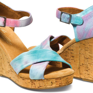 PINK AND BLUE TIE DYE WOMEN'S STRAPPY WEDGES