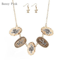 Vintage Alloy Cactus Pendant Choker Necklace Earrings For Women Metal Statement Metal Chain Choker Collar Fashion Jewelry Sets