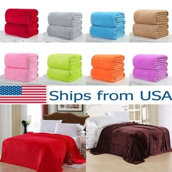 Super Soft Micro Plush Fleece Blanket Solid Bedding Soft Warm Throw Rug Sofa New