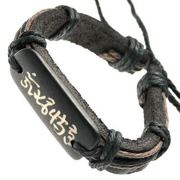 Bracelet with Chinese Symbols on Bone ID