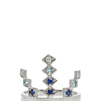 18k White Gold and Sapphire Triple Burst Ring