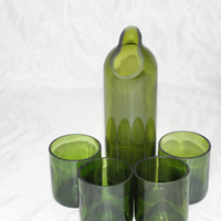 Green Glass Pitch and Glass Set, Green Carafe, Green Glassware, Upcycled Wine Bottles