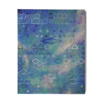 "Mimulux Patricia No ""Hieroglyphic"" Blue Digital Abstract Birchwood Wall Art"