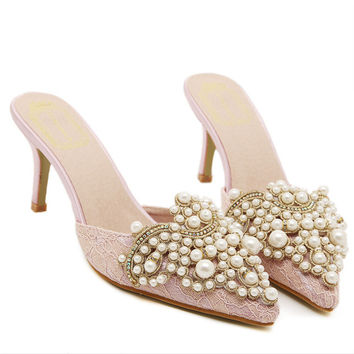 Roman Pearls Rhinestone High Heel Sandals Lace Pointed Toe Slippers [6049543233]